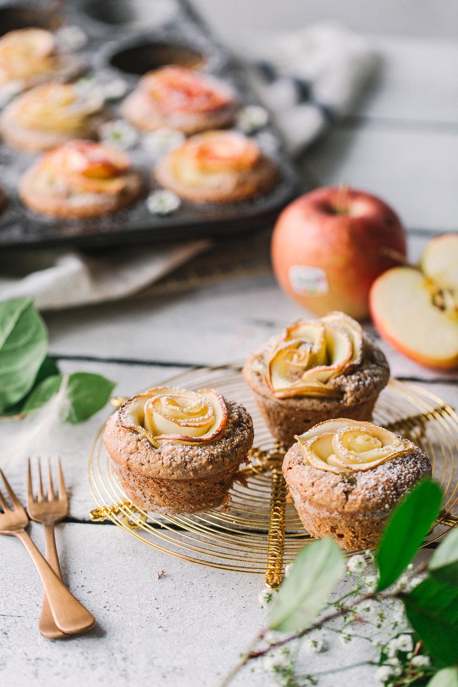 Gesunde Apfelrosen Muffins