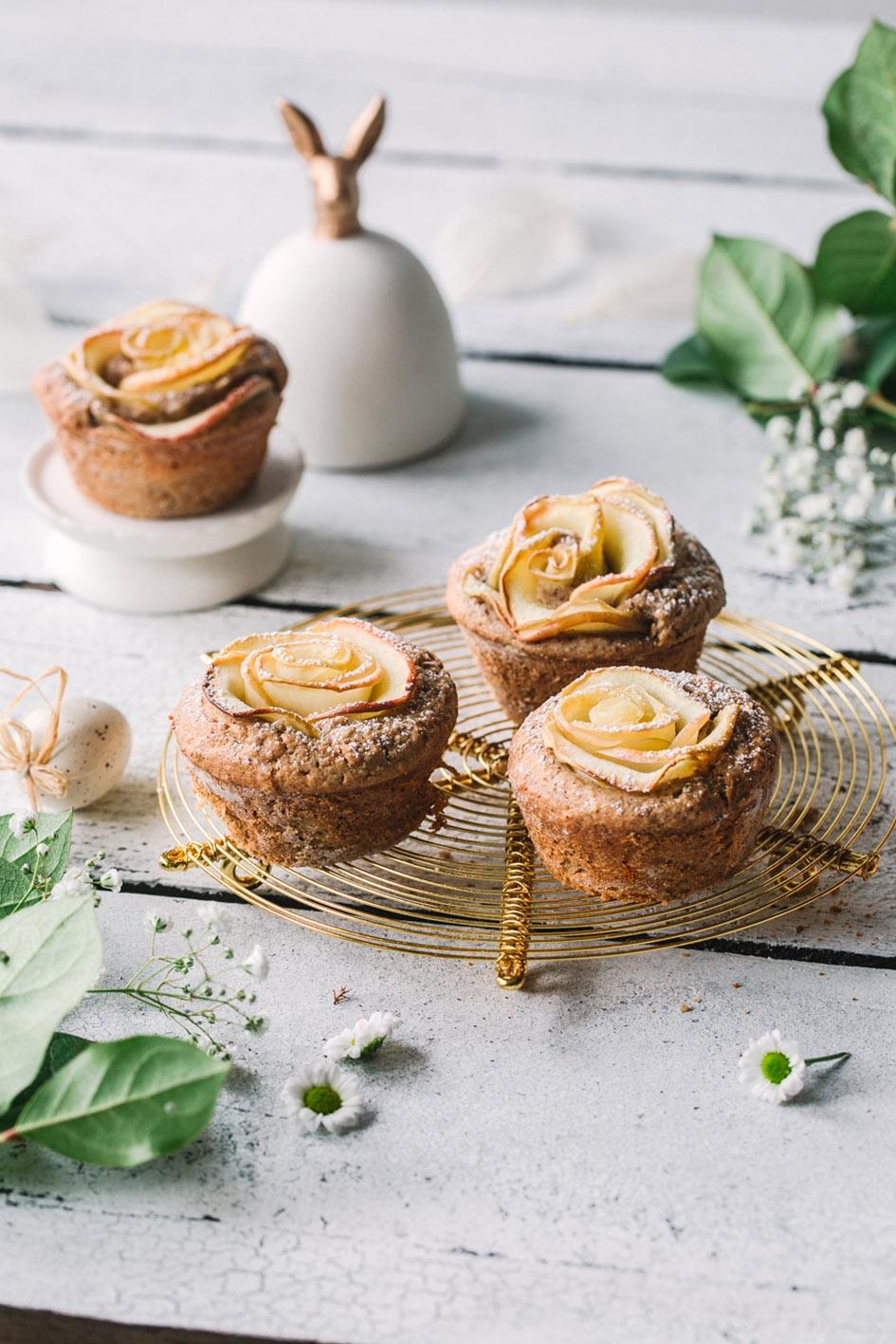Apfelrosen-Muffins aus gesunden Zutaten zu Ostern