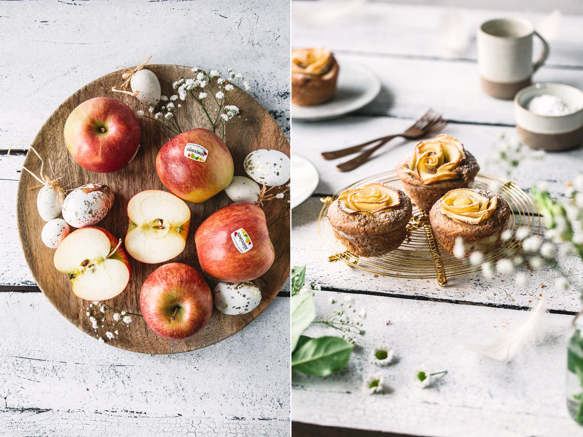 Gesunde Apfelrosen-Muffins