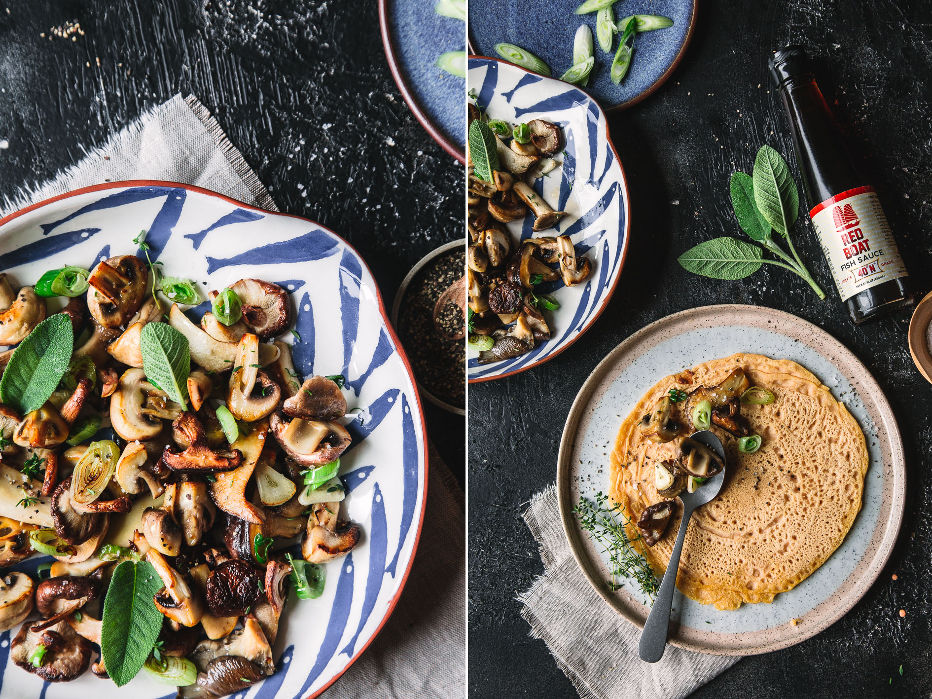 Gebratene Pilze mit Fischsauce