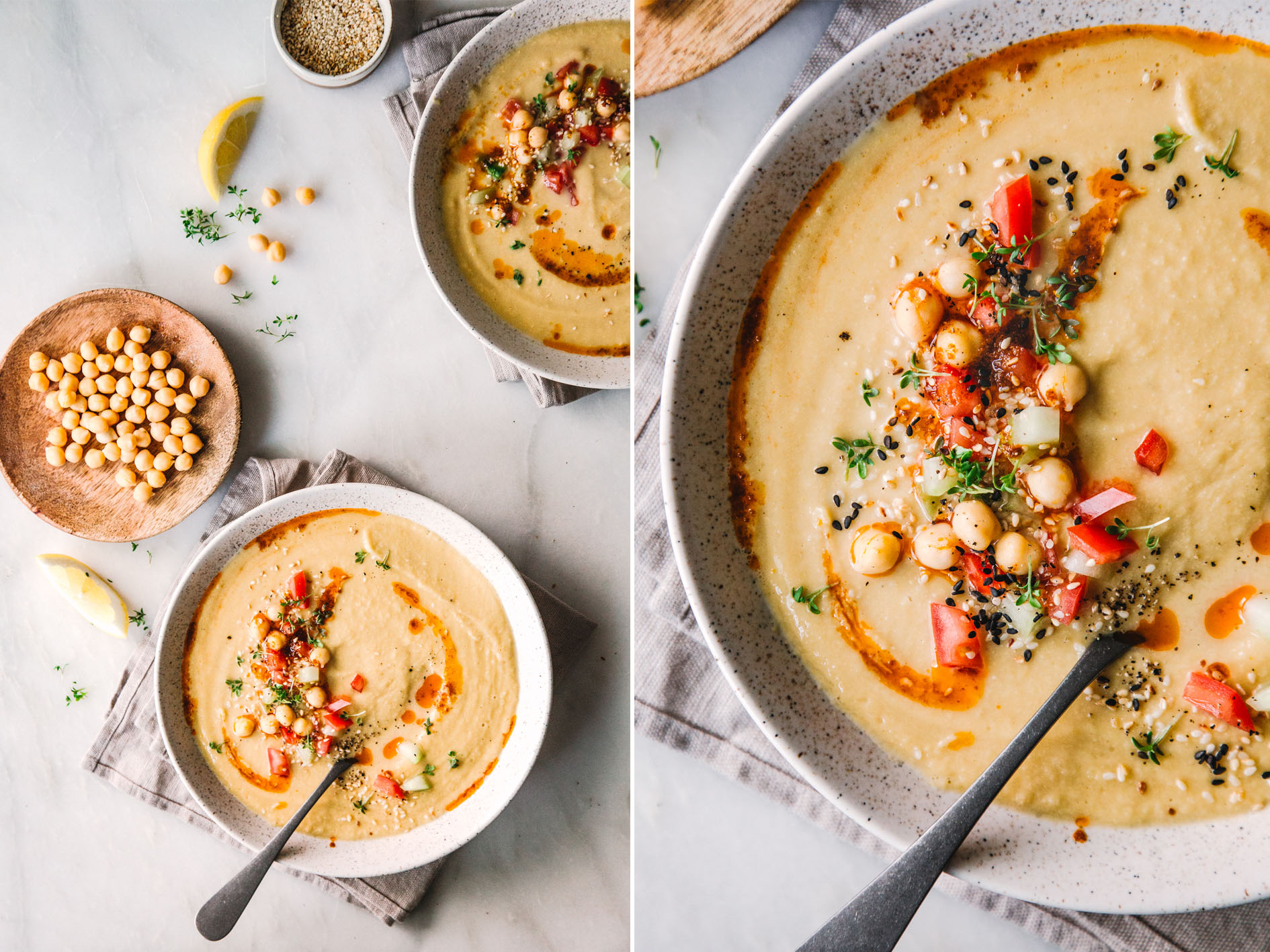 Hummus Suppe mit Toppings
