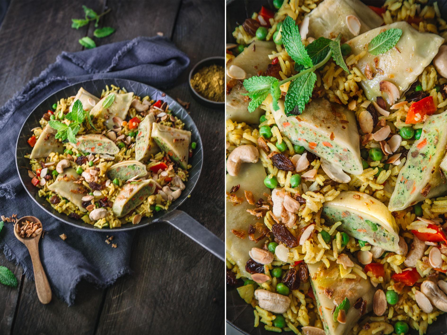 Indische Reispfanne mit Maultaschen