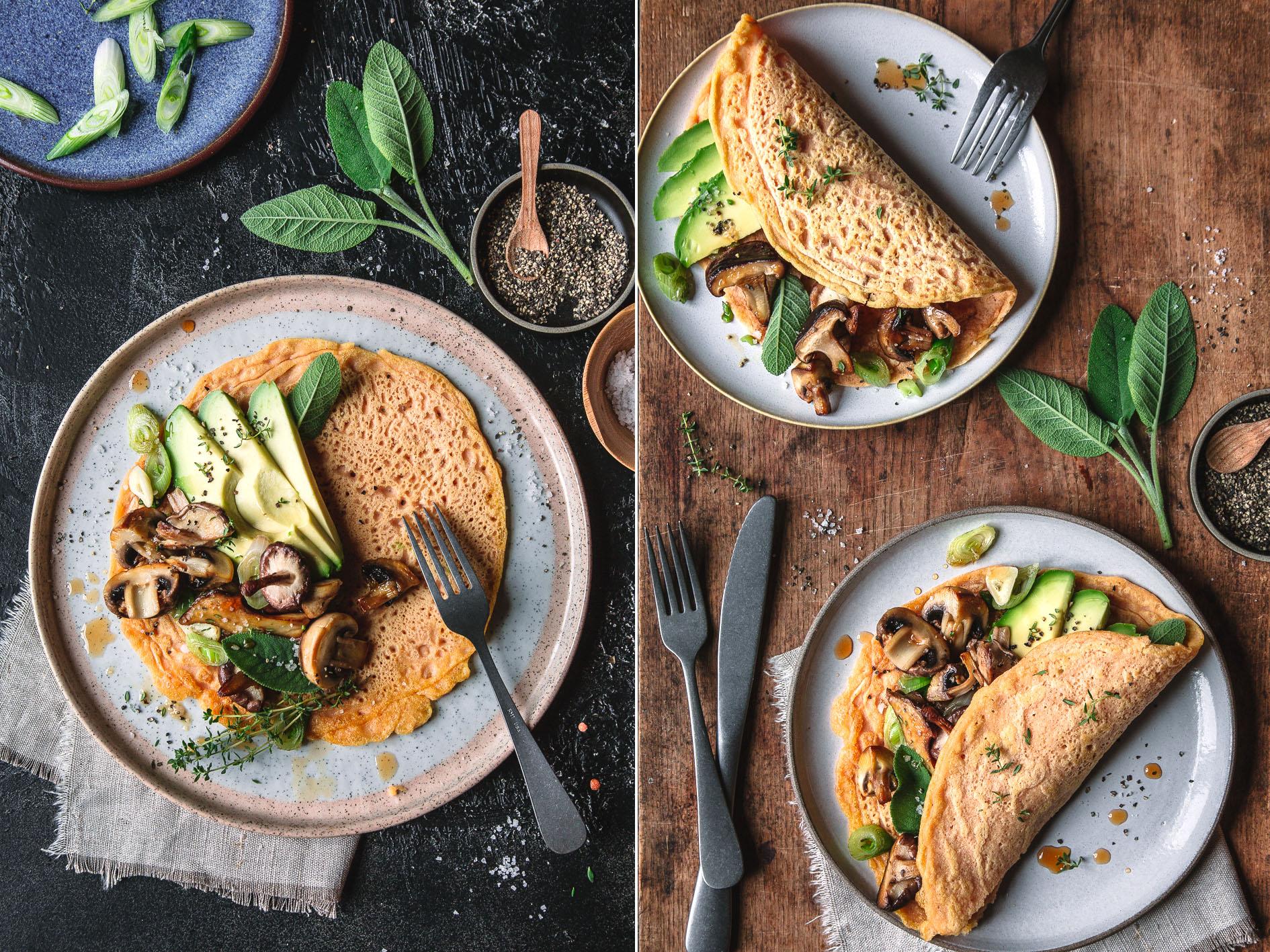 Linsenpfannkuchen mit Avocado und Pilzen