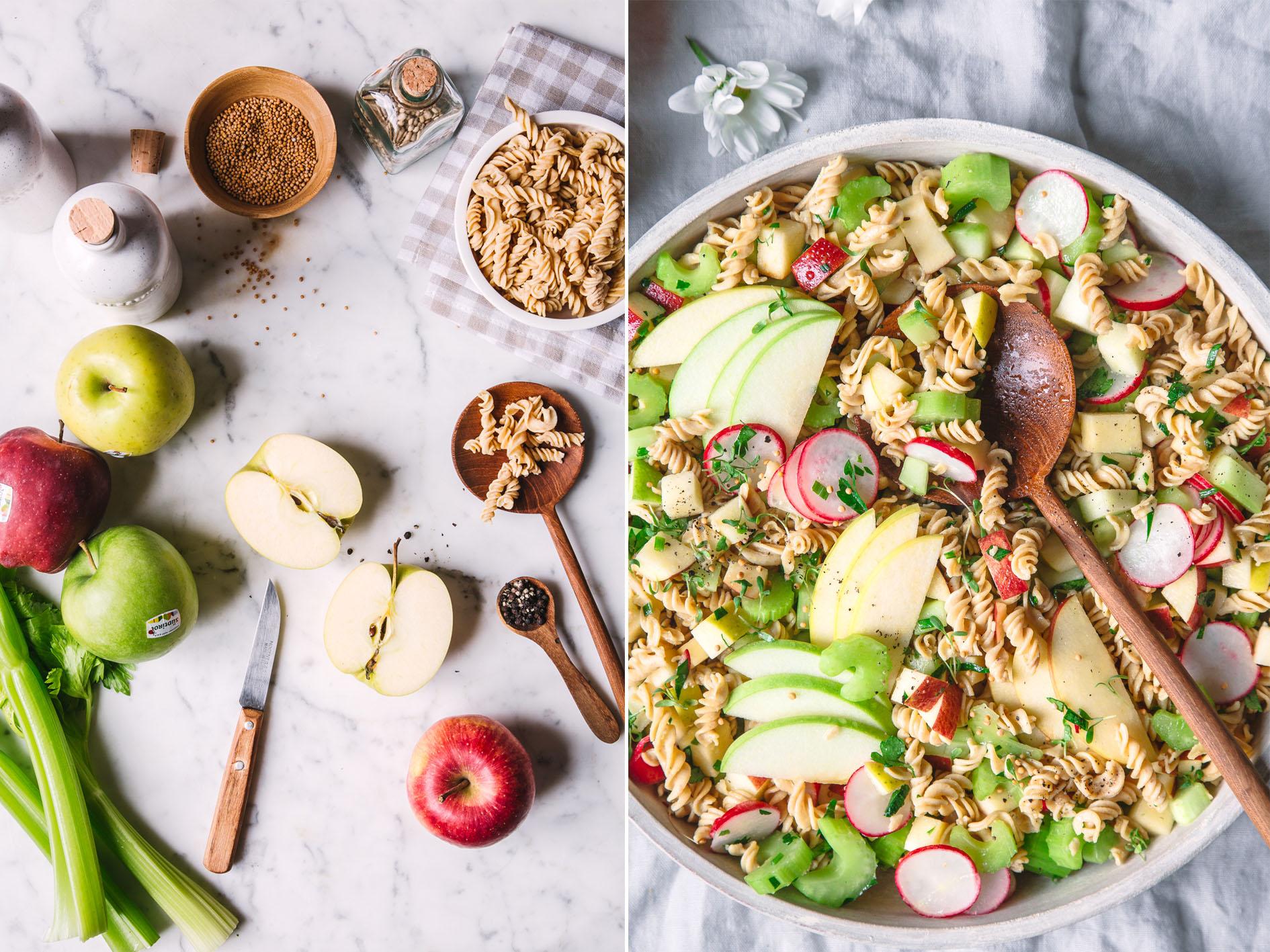 Kichererbsen-Nudelsalat mit Äpfeln