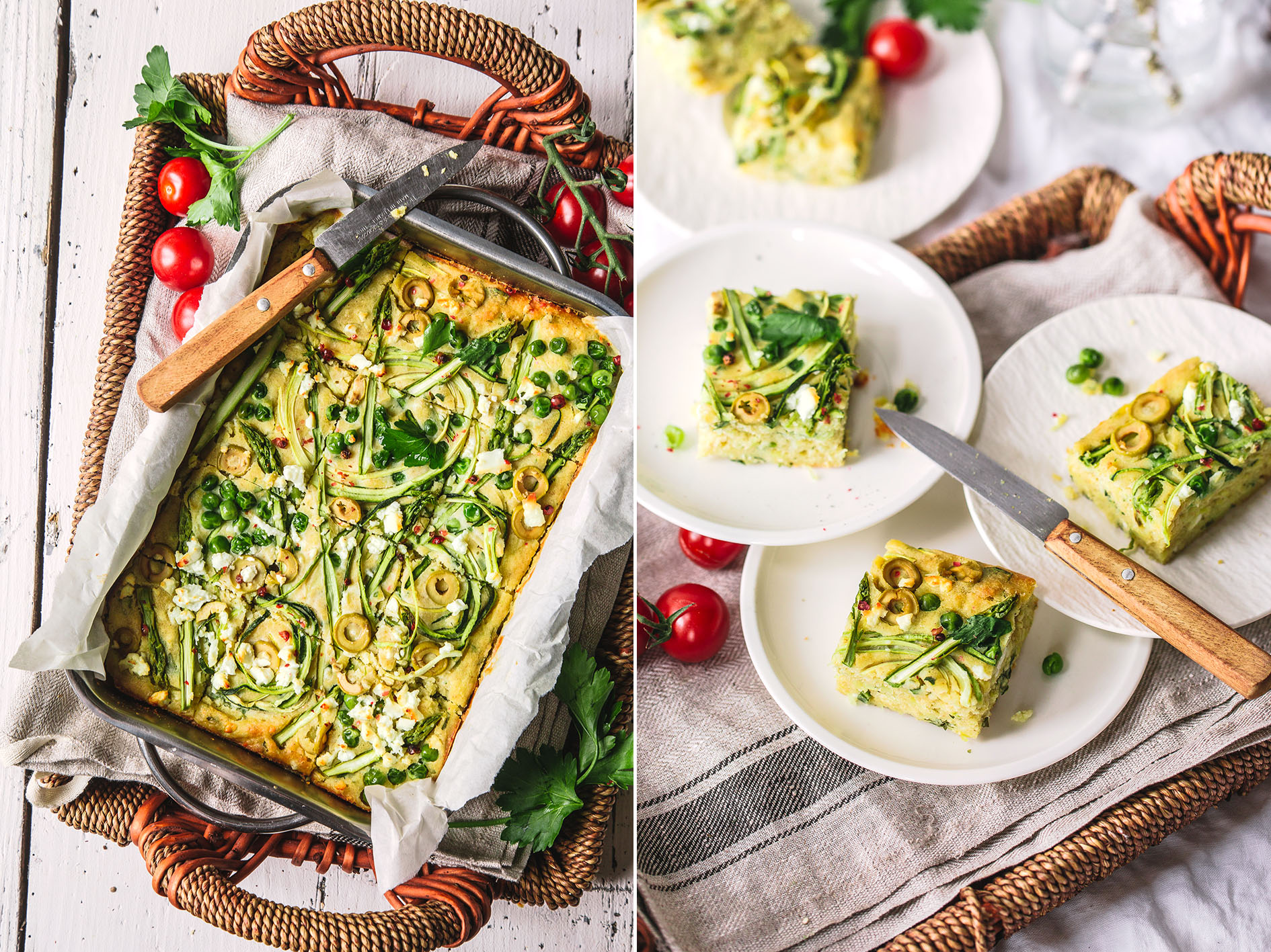 Gemüsekuchen mit Feta und Spargel