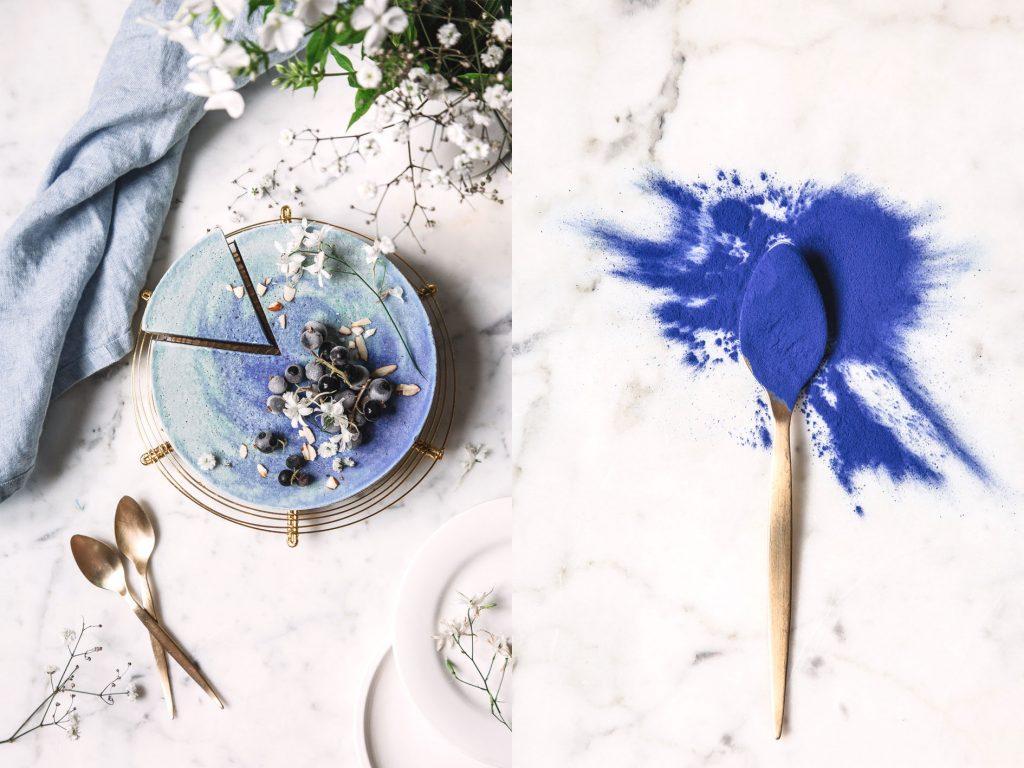 Eistorte mit blauer Spirulina