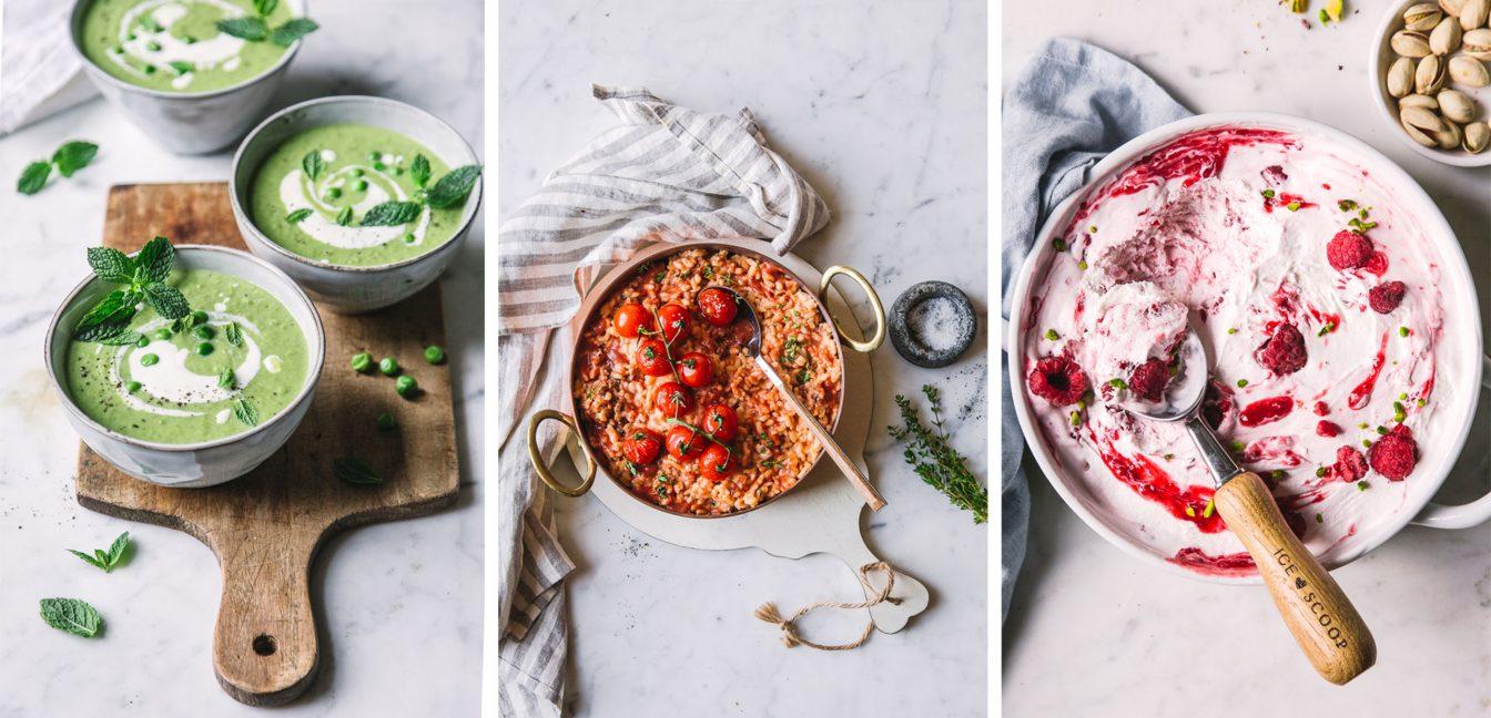 Erbsensuppe, Tomatenrisotto, Himbeer-Eis – 3 Gänge mit Ziegenfrischkäse