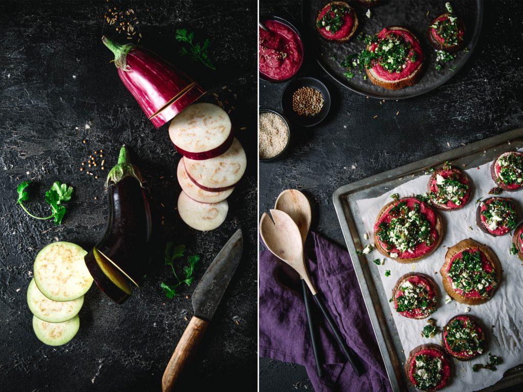 Gebackene Aubergine mit Rote bete Hummus