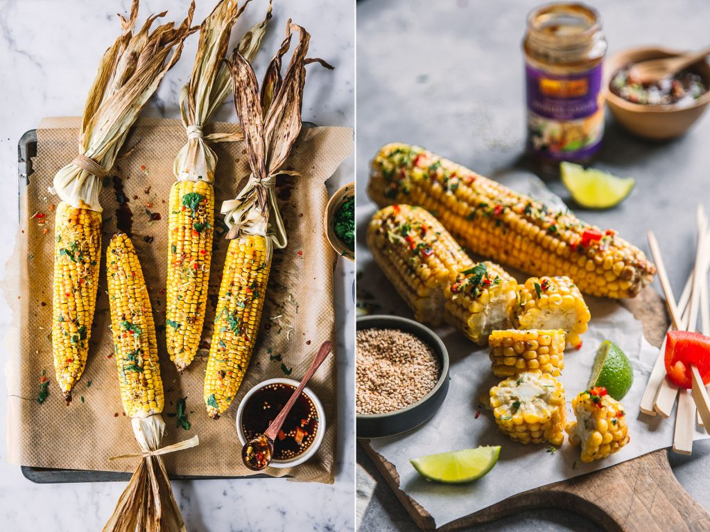 gegrillter Mais mit Hoisin Marinade
