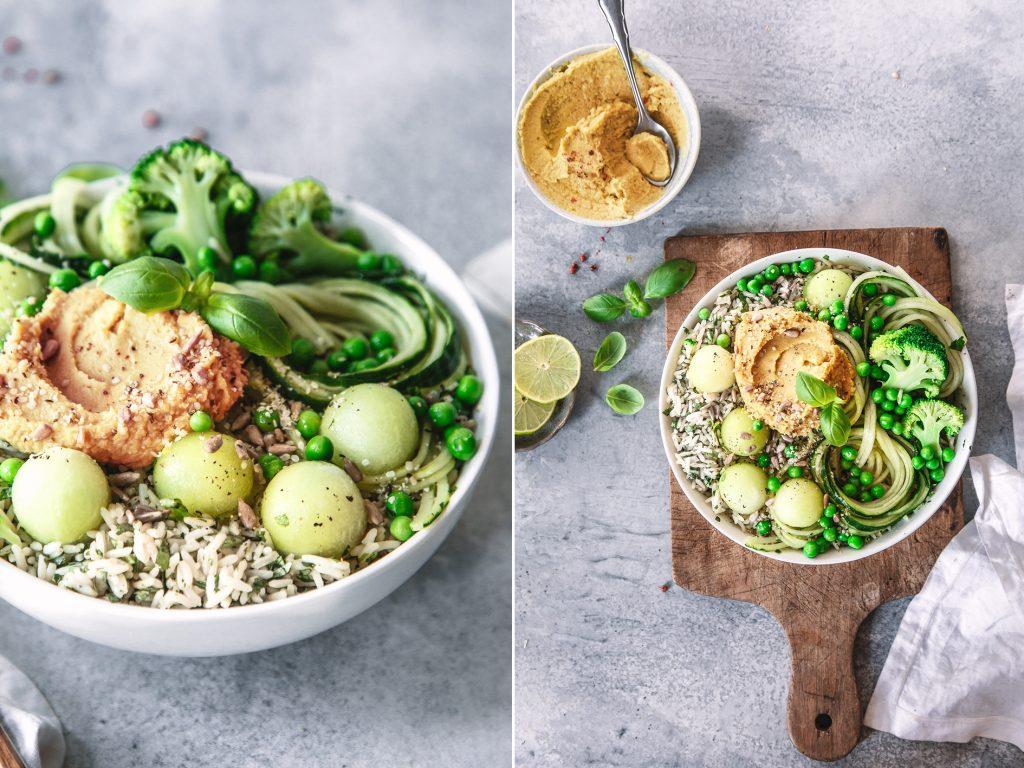 Grüne Bowl mit Hummus