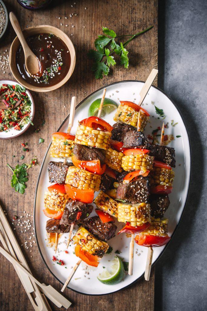 Mais-Rindfleisch-Spieße vom Grill