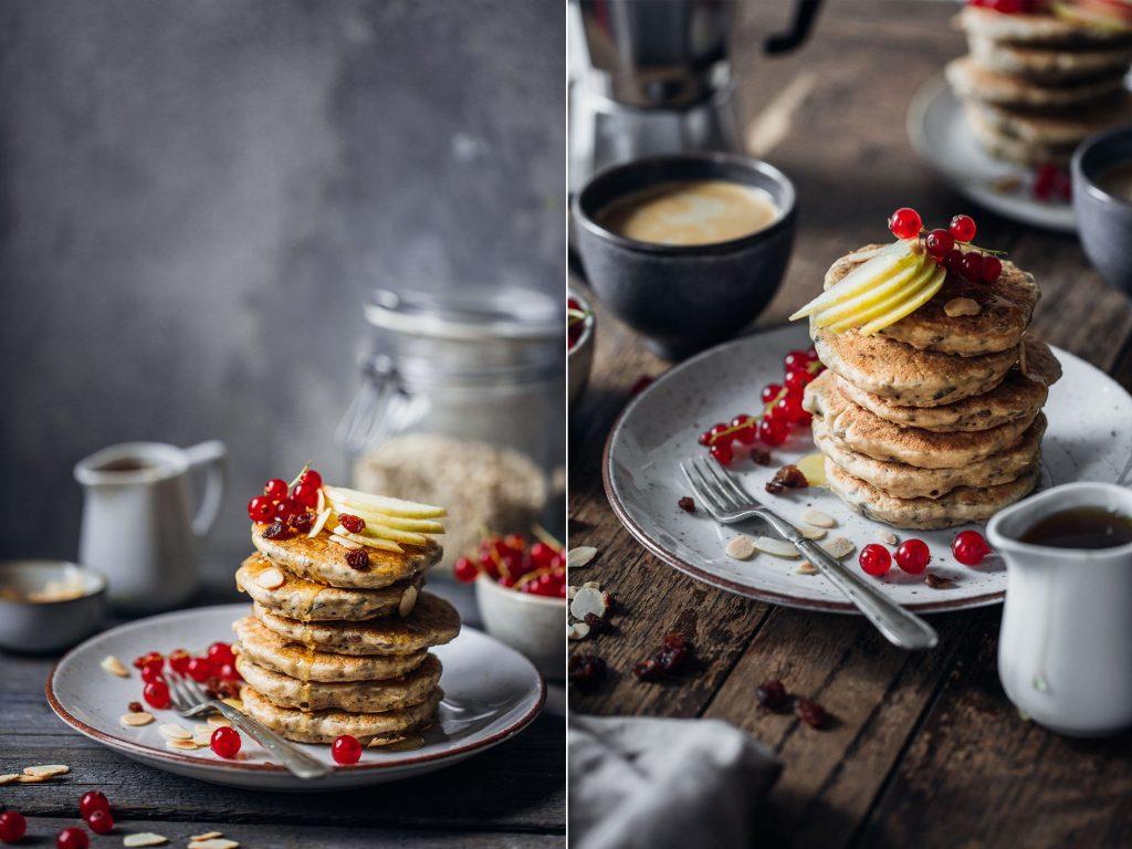 Vegane gesunde Bircher Pancakes