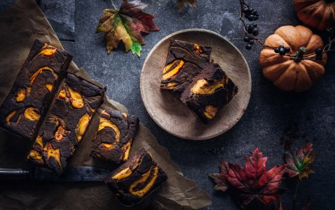 Kürbis-Brownies mit Kürbis-Swirl