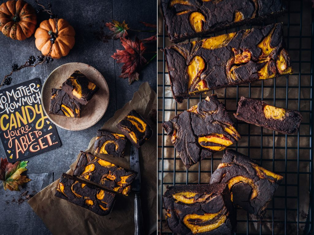 Schokolade Brownies mit Pumpkin Swirl