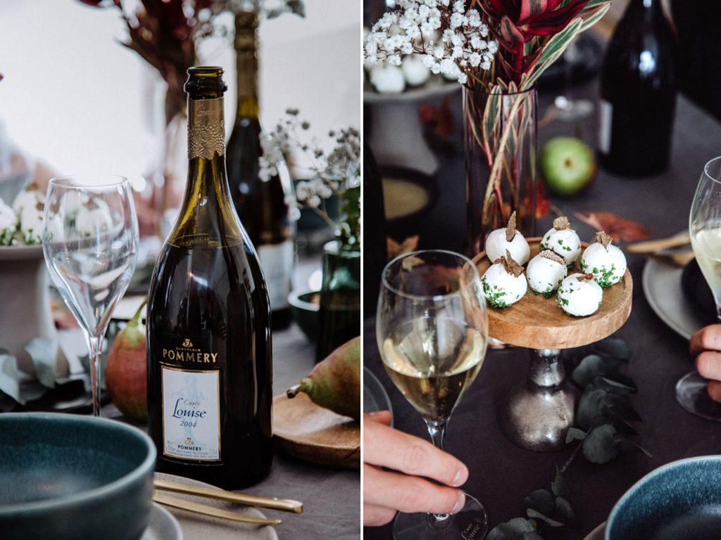 Champagner mit Ziegenkäsepralinen