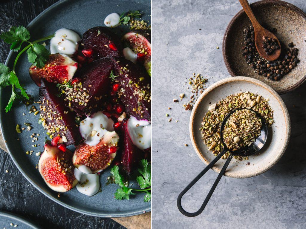 Warmer Rote Bete Feigen Salat mit Dukkah