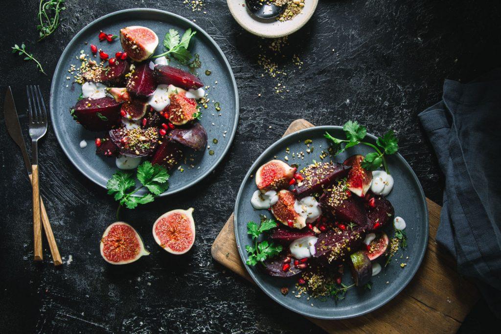 Rote Bete Feigen Salat mit Dukkah