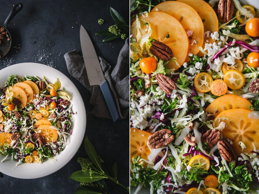 Bunter Krautsalat mit Kaki und Feta