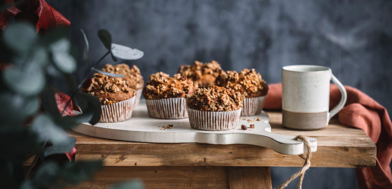Süßkartoffel-Muffins mit Pekannuss-Streuseln