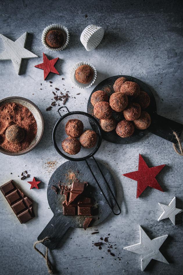 Selbst gemachte Schokoladen Orangen Pralinen