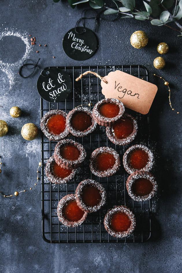 Schokoladen Spitzbuben mit Orangengelee