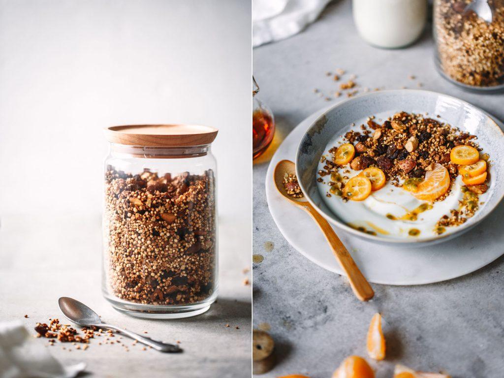 Quinoa-Knusper-Granola mit Ahornsirup
