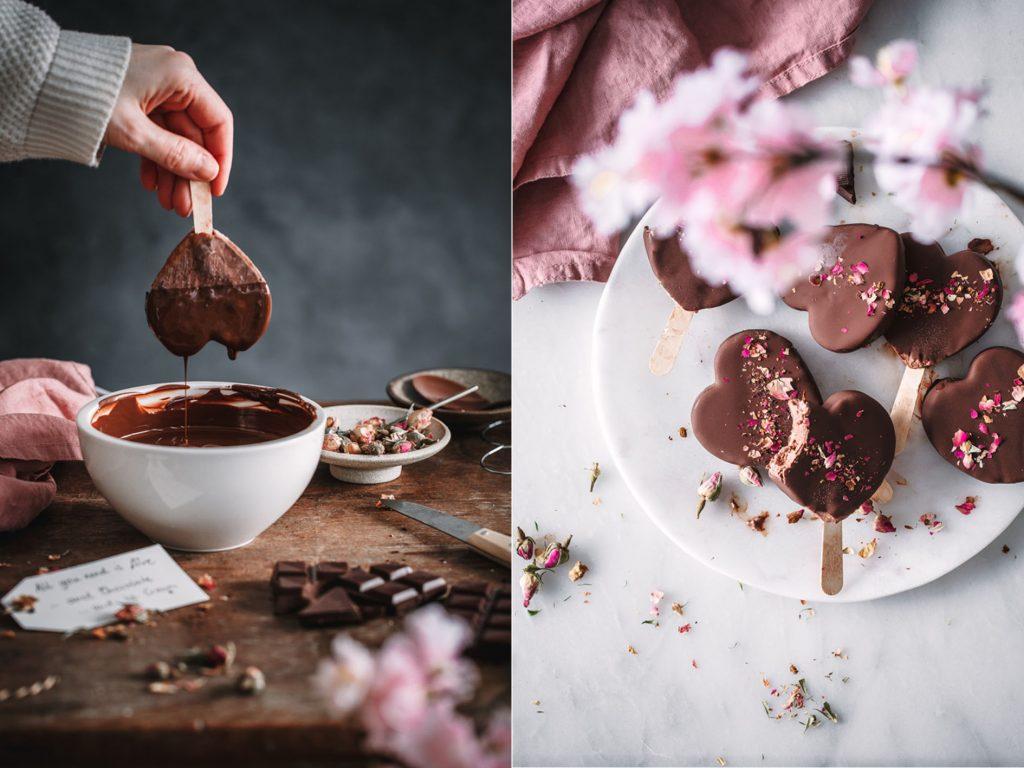 Schokoladeneis Herzen