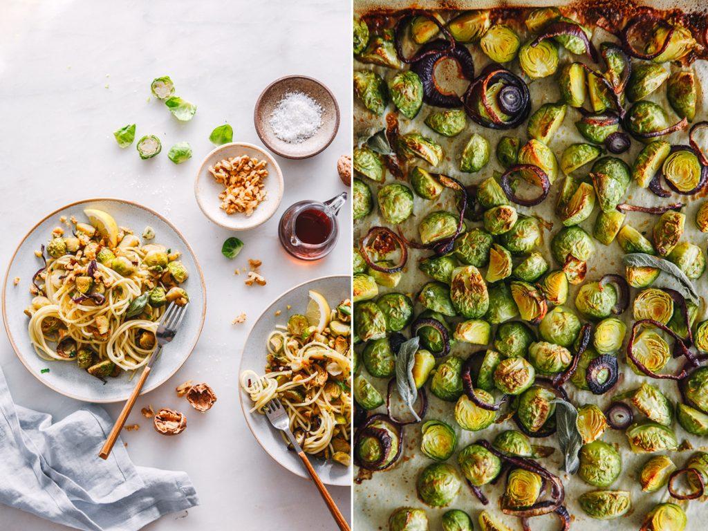 Vegane Pasta mit Rosenkohl