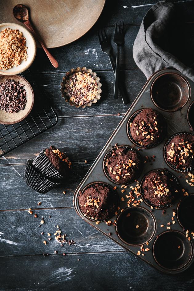 Schokoladenmuffins mit Leinsamen
