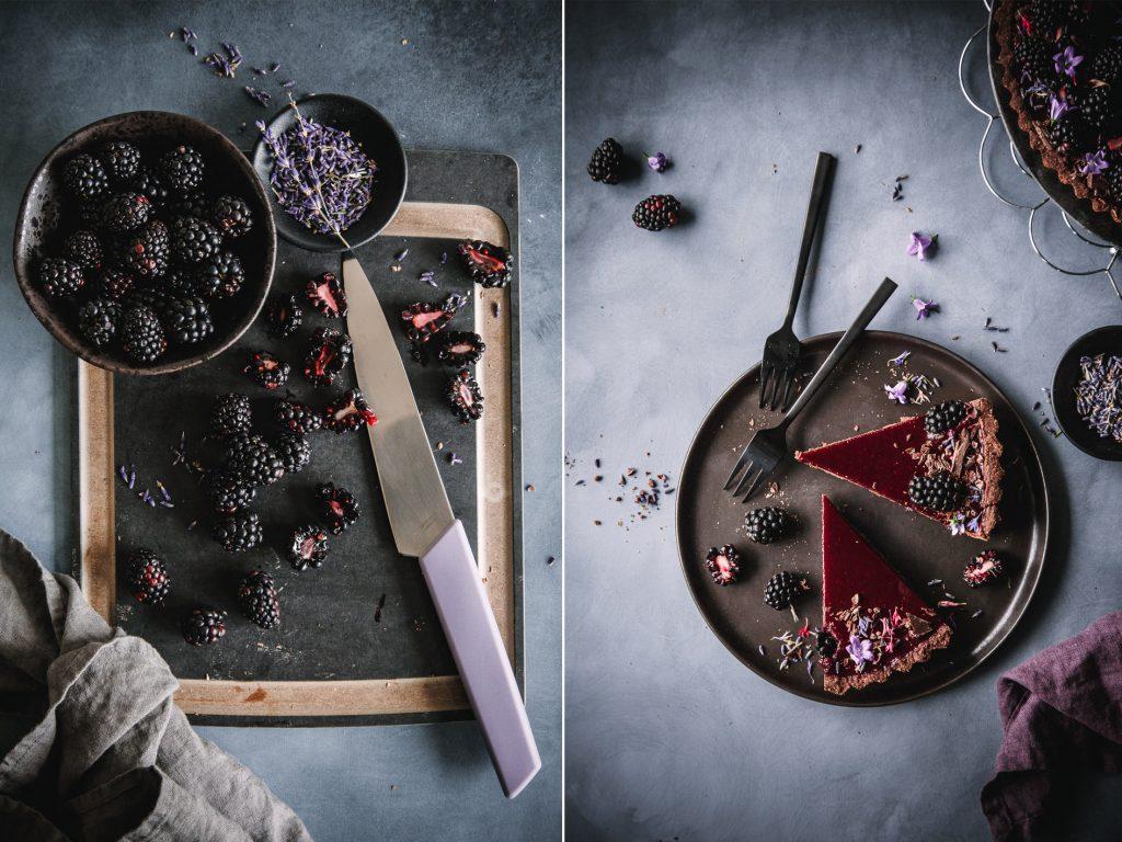 Schokoladentarte mit Brombeeren (vegan)