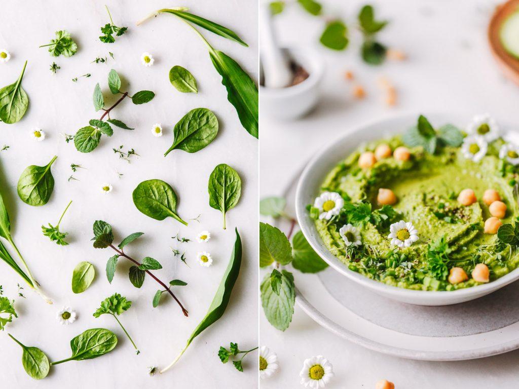 Frühlings-Hummus mit Kräutern