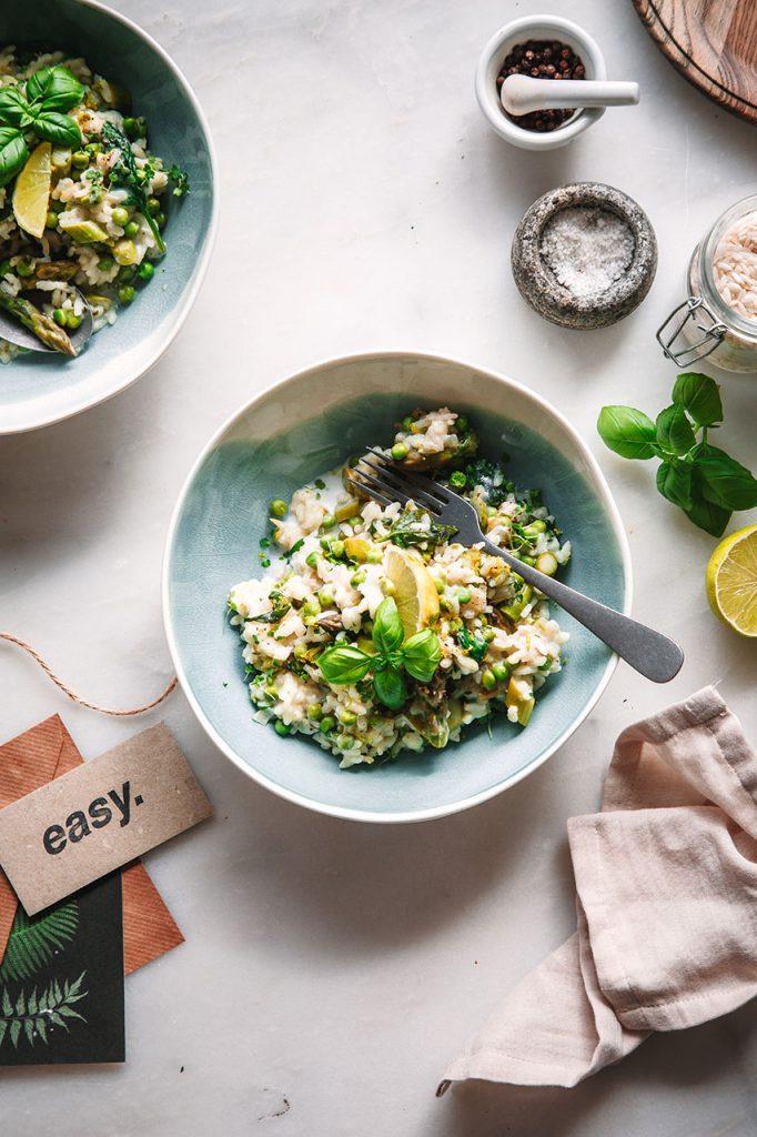 Veganes Spargel-Risotto mit Kokosmilch