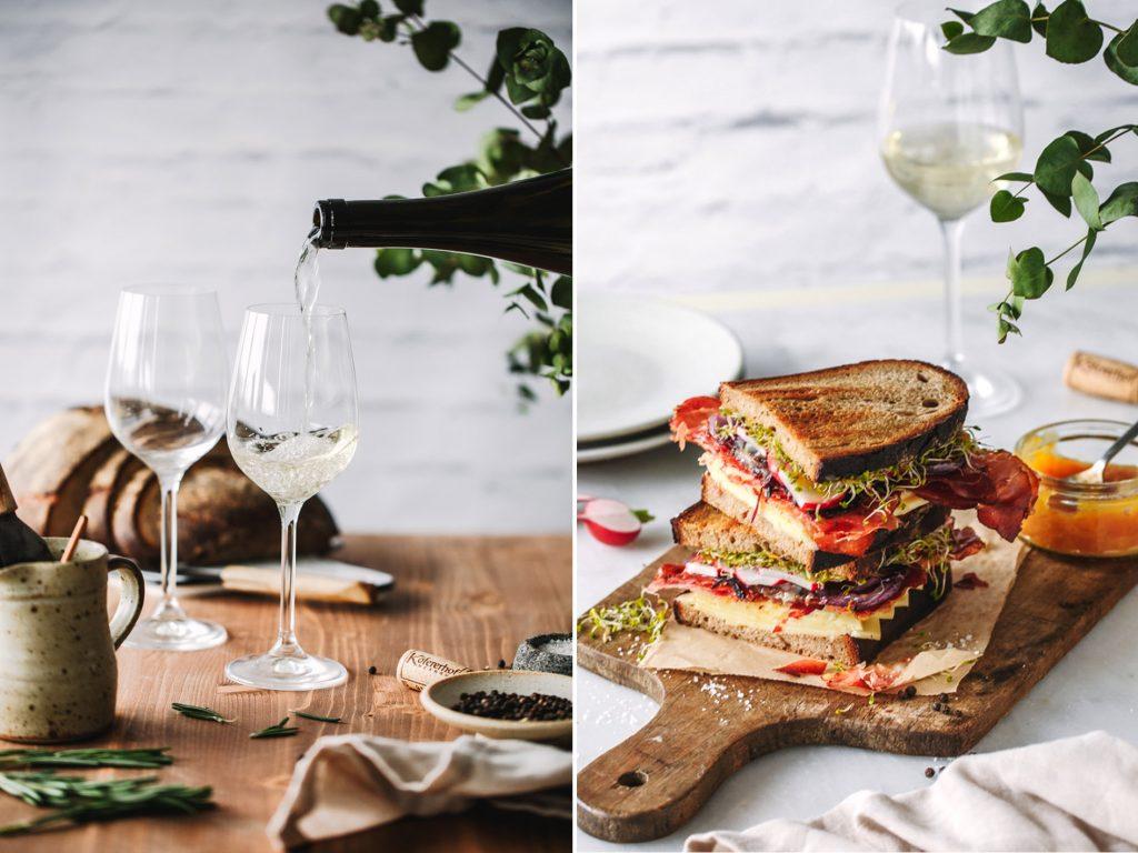 Südtiroler Sandwich mit Wein