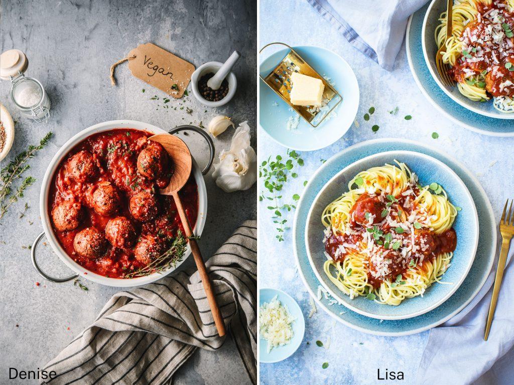 Vegane Meatballs unterschiedlich Fotografiert