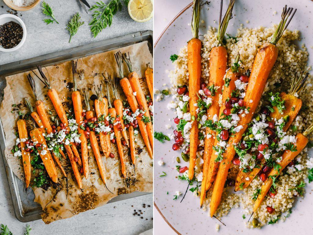 Gegrillte Möhren auf Quinoa mit Feta
