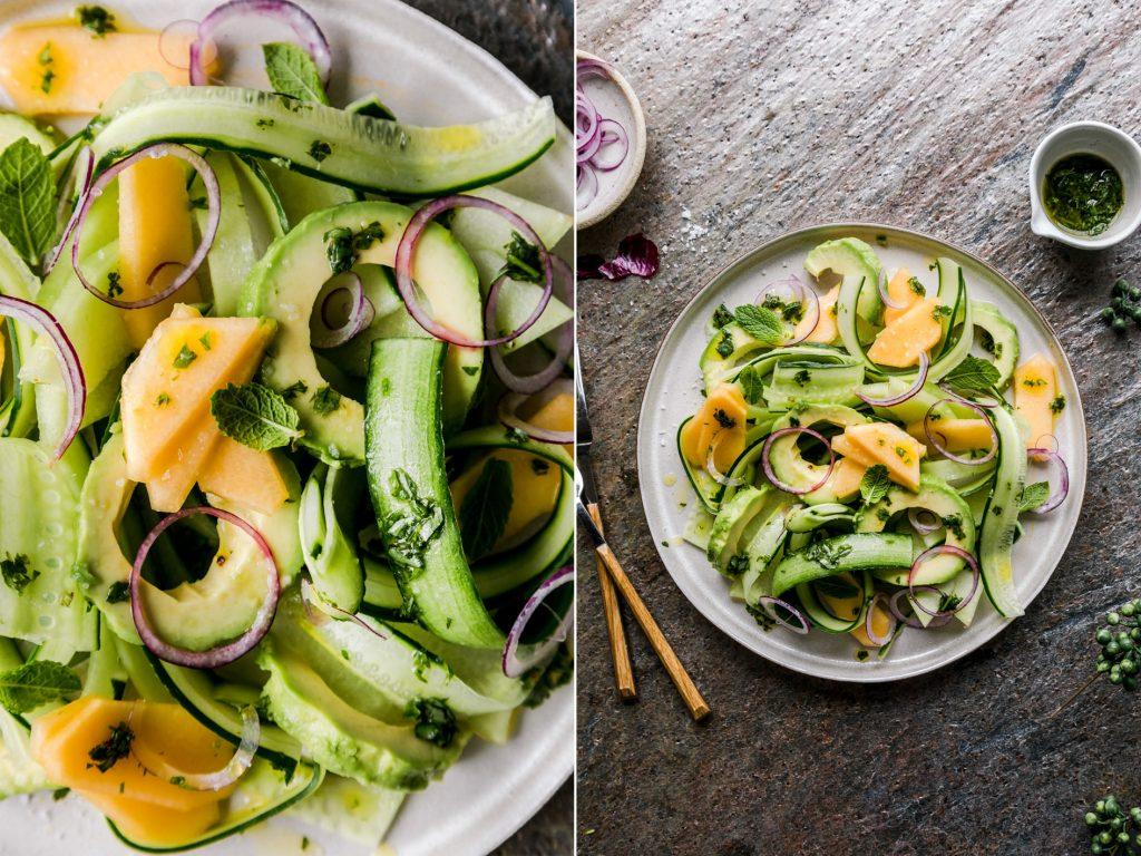 Erfrischender Melonen Gurken Salat