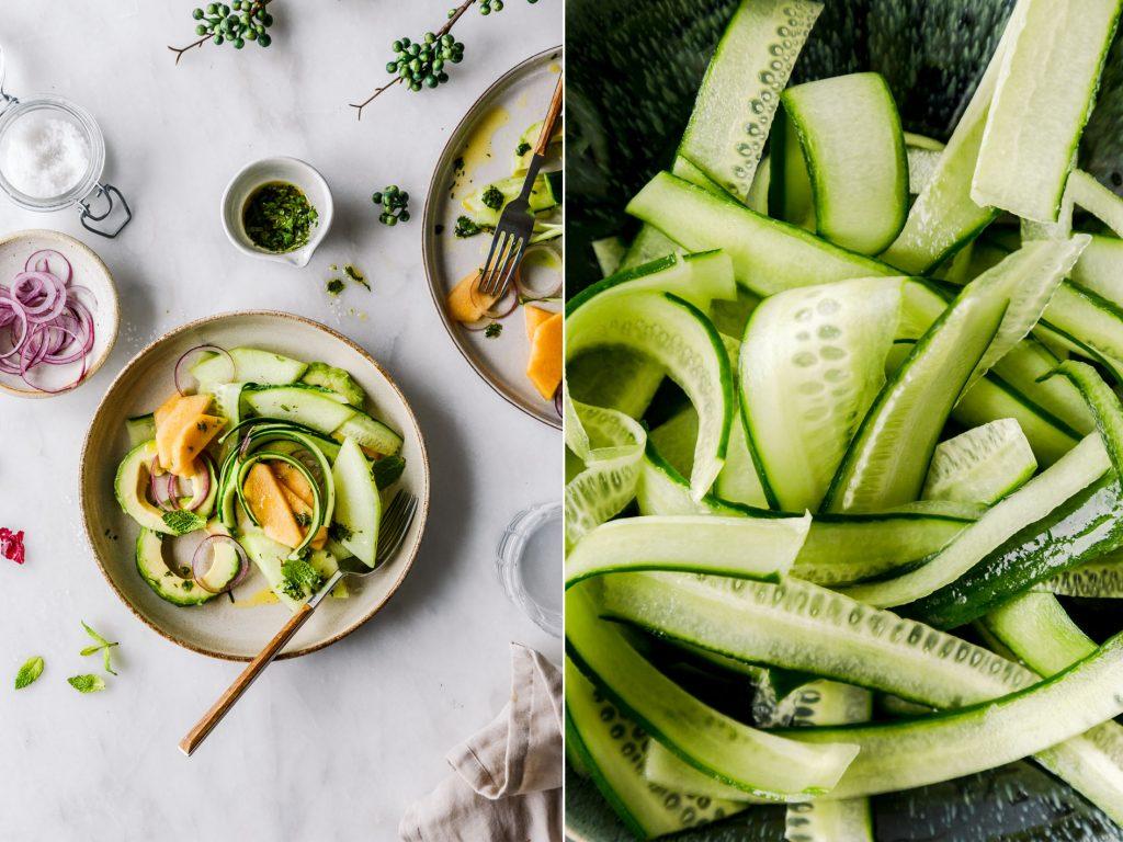 Salat mit Gurke, Melone und Avocado