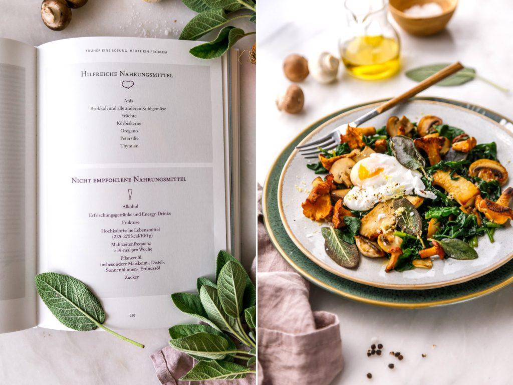 Pilzpfanne mit Spinat und Ei