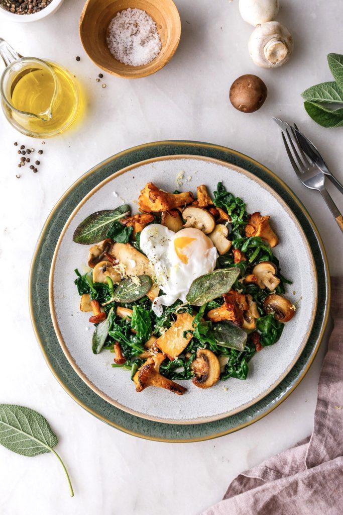 Rezept für gesunde Spinat-Pilzpfanne