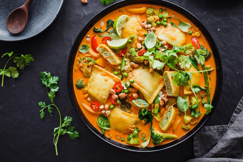 Vegetarisches Maultaschen Curry