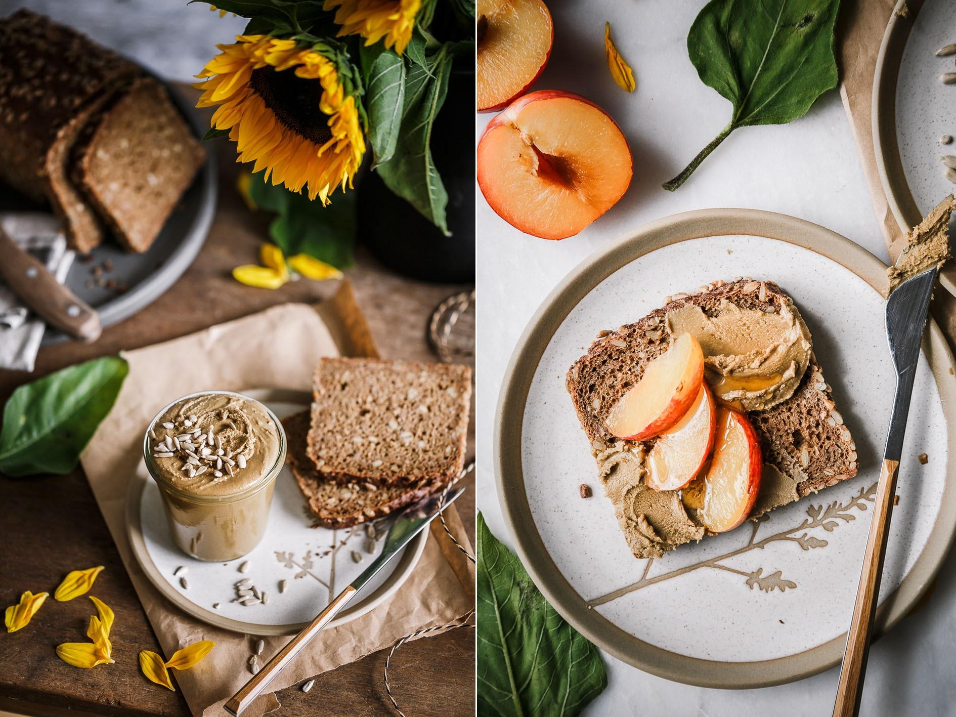 Gesunde Brot mit Sonnenblumenbutter