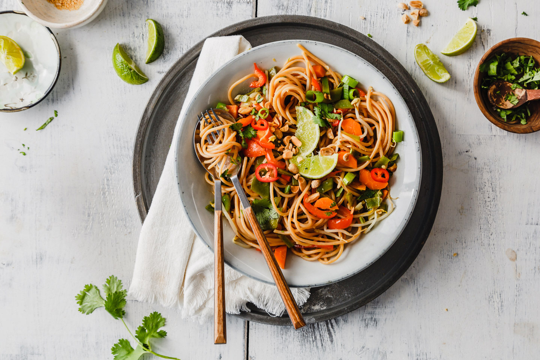 Rote Linsen Spaghetti Thai Style
