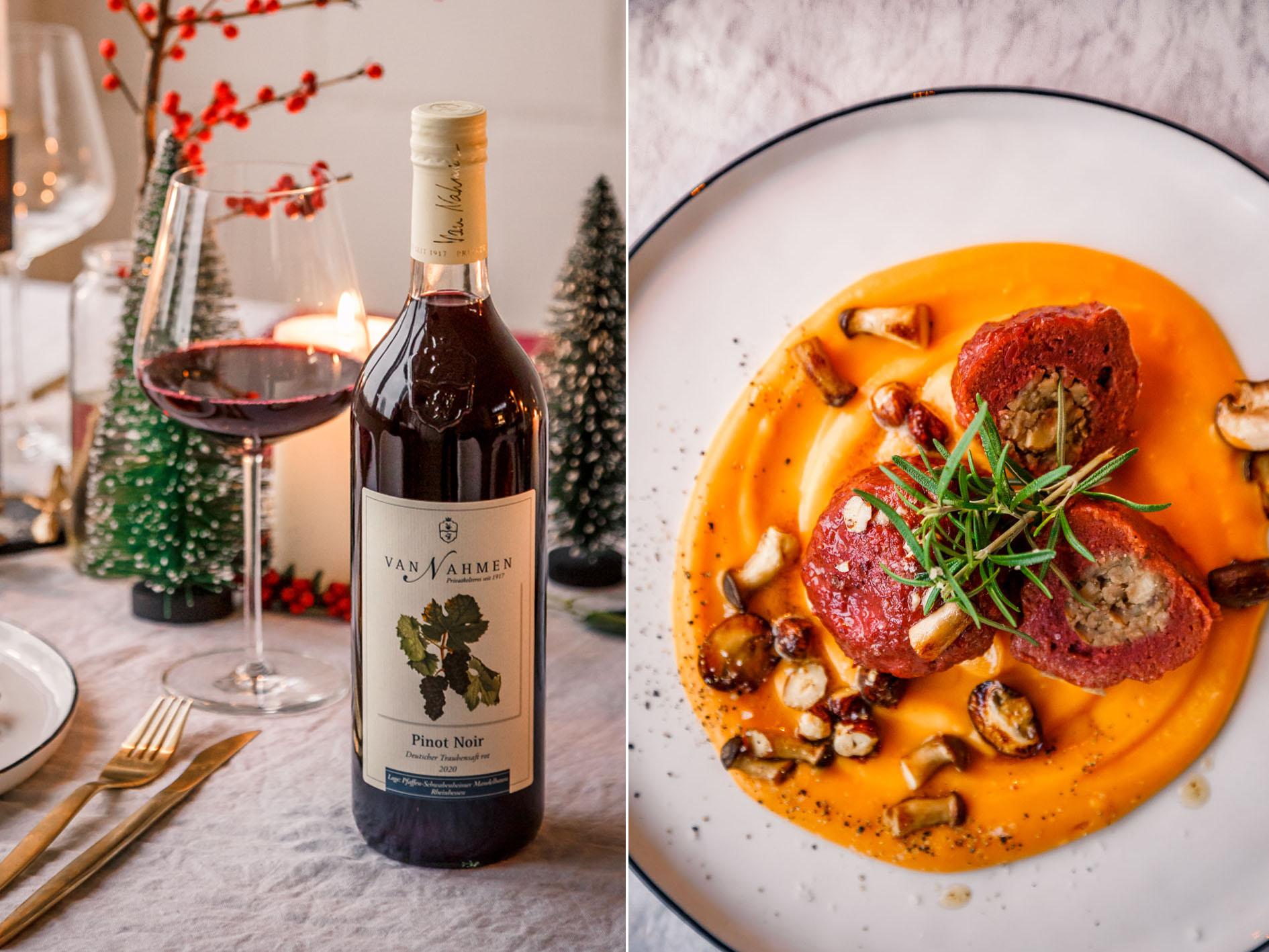 Weihnachtlicher Hauptgang mit Pinot Noir