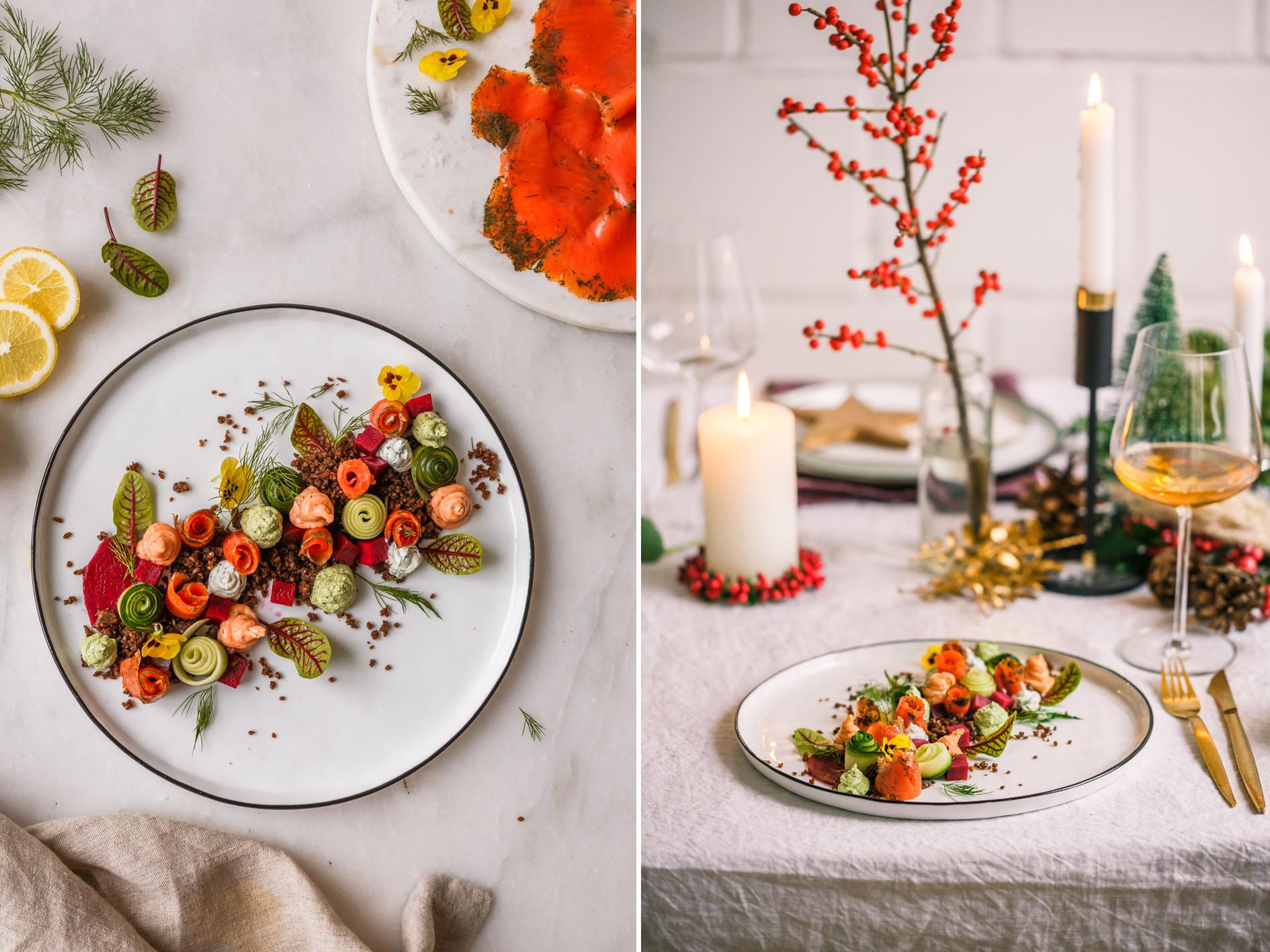 Weihnachts-Vorspeise mit Lachs