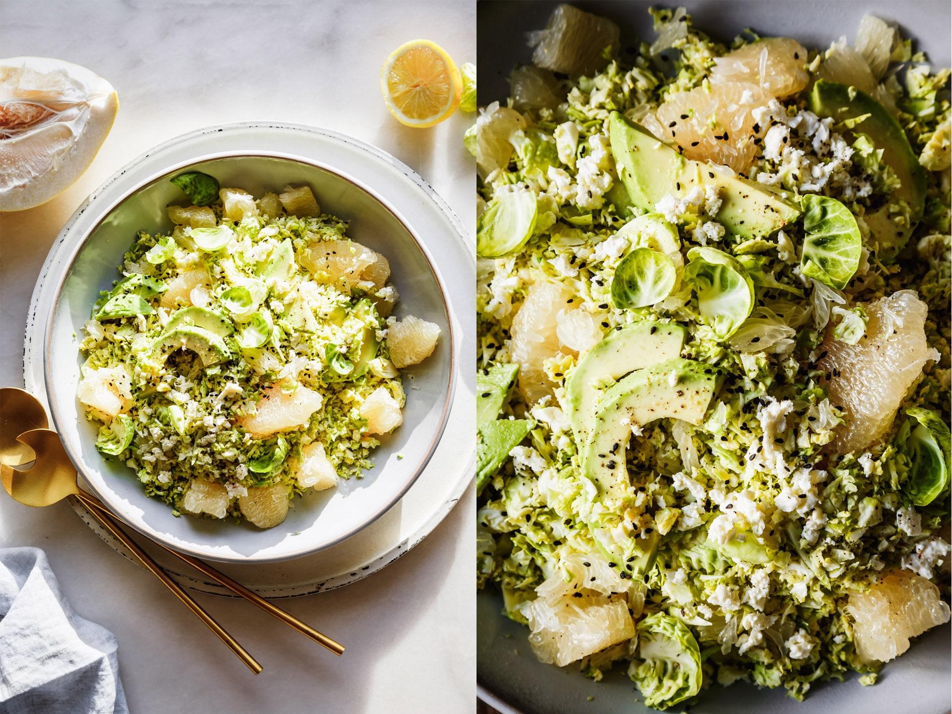 Rosenkohlsalat mit Pomelo und Avocado