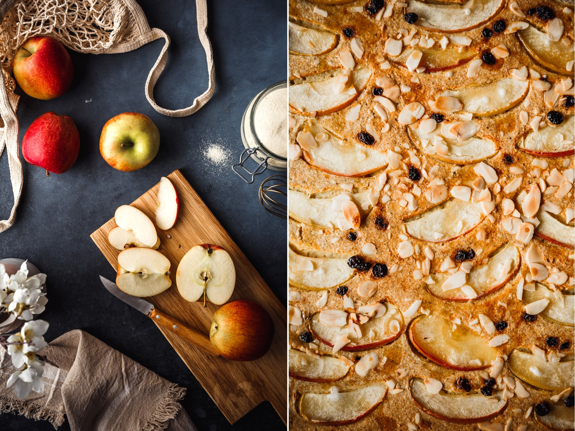 Apfel-Pfannkuchen aus dem Ofen neben geschnittenen Äpfeln